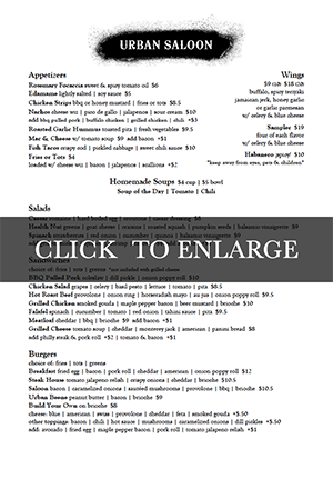 Urban Saloon Menu
